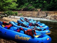 Photo of rafts beside the water