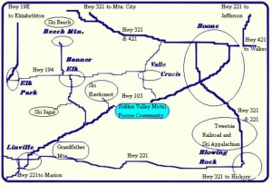Map showing location of Hidden Valley Motel